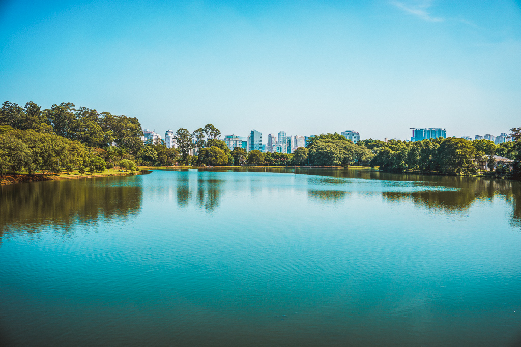Ibirapuera Park, Sao Paulo, Brazil - Panoramic view of the lake